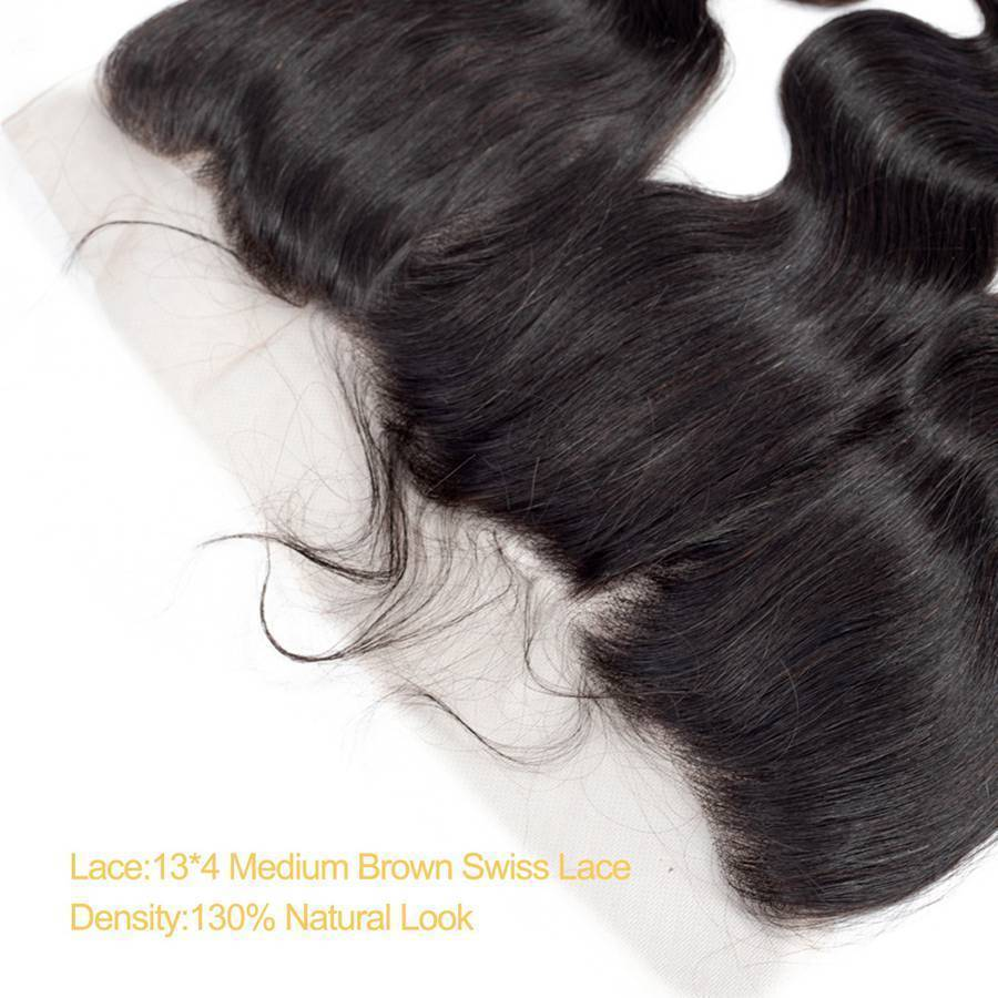 VSHOW HAIR Premium 9A Brazilian Human Virgin Hair Body Wave 3 Bundles with Pre Plucked 13x4 Frontal Natural Black