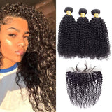VSHOW HAIR Premium 9A Mongolian Human Virgin Hair Kinky Curly 3 Bundles with Pre Plucked 13x4 Frontal Natural Black