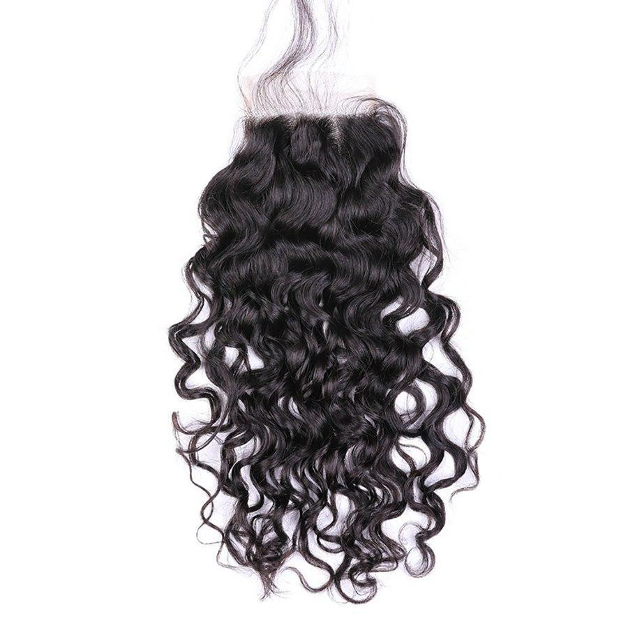 VSHOW HAIR 100% Virgin Human Hair Natural Wave 4x4 6x6 Lace Closure Natural Black