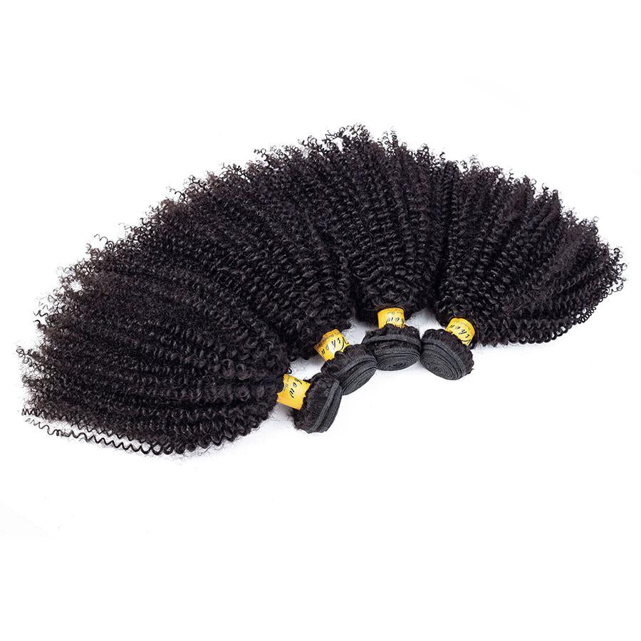 VSHOW HAIR Premium 9A Brazilian Human Virgin Hair Afro Curly Natural Black 4 Bundles Deal