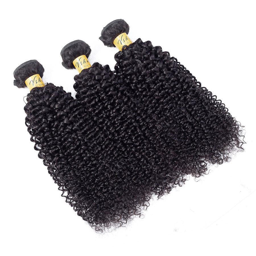 VSHOW HAIR Premium 9A Peruvian Human Virgin Hair Kinky Curly 3 Bundles with Pre Plucked 13x4 Frontal Natural Black