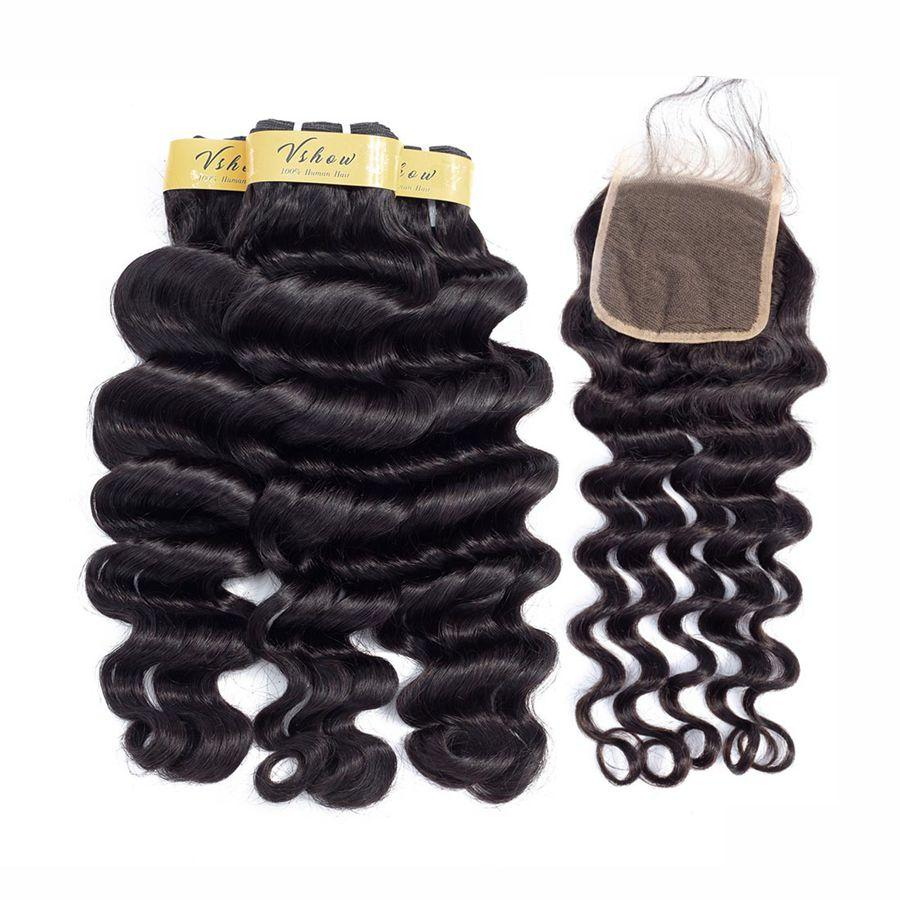 VSHOW HAIR Premium 9A Indian Human Virgin Hair Loose Deep Wave 3 Bundles with Pre Plucked Closure Deal Natural Black