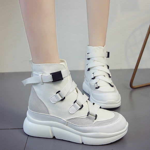 Isabella Solid Black or White Platform Ankle Boots/Sneakers
