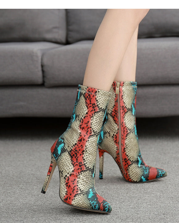 Multicolor Serpentine Skin Pointed Toe High Heel Ankle Boots