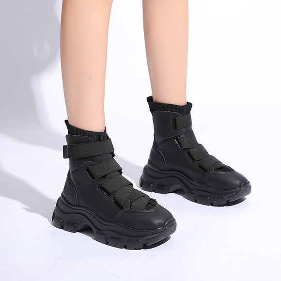 Carrie High Top Platform Black Ankle Boots