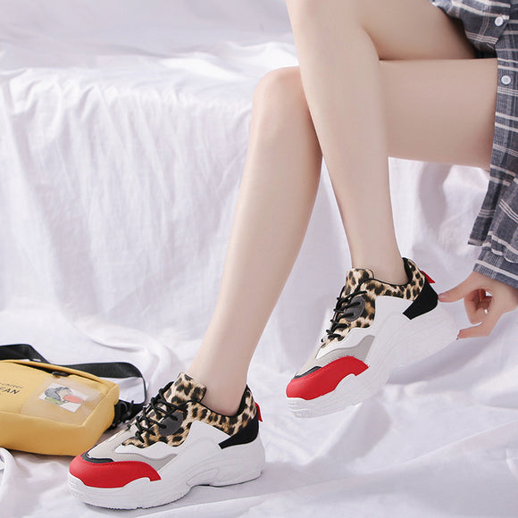 Maria Leopard Print Off White Shoes Lace-Up Platform Sneakers