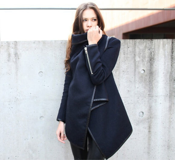 Amelia Woolen Coat Irregular Turtleneck Long Sleeve Coats