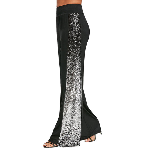 Mona Plus Size Wide Leg Pants with Gradient Sequins
