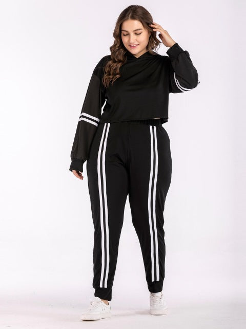 Hailey Plus Size Two Piece Set Hoodie Elastic Waist Pants