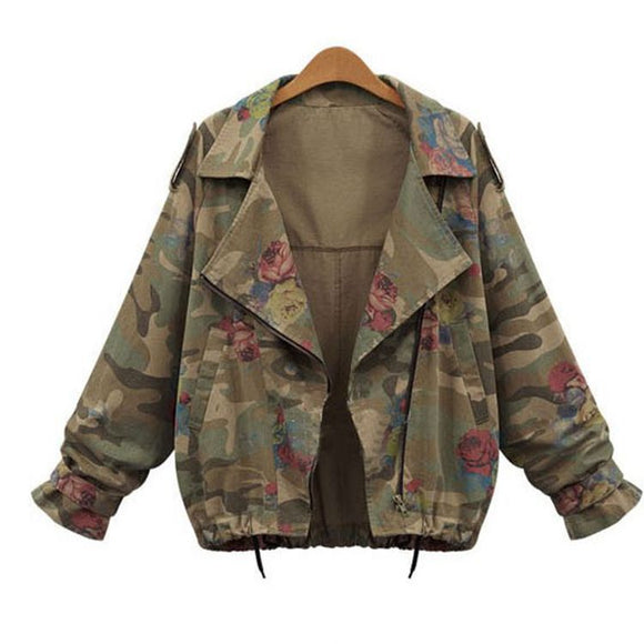 Jane Military Jacket Rose Print Loose Jacket