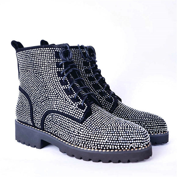 Alice Rhinestone Lace Up Motorcycle Boots