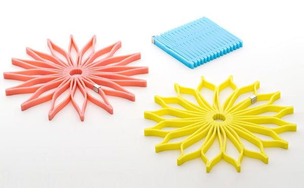SUNFLOWER Trivet ( Set of 3 ) Aqua, Coral, and Yellow