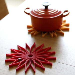 SUNFLOWER Trivet ( Set of 3 ) Crimson , Black, and Mustard