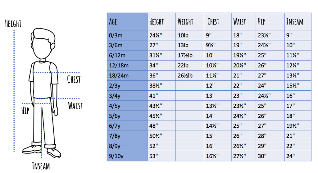 size chart for boys clothing in inches
