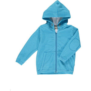 Blue/sky stripe towelling hooded top