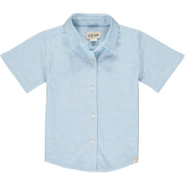 Blue/white micro stripe jersey shirt