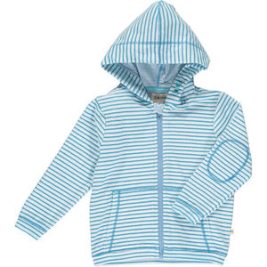Blue/white stripe towelling hooded top