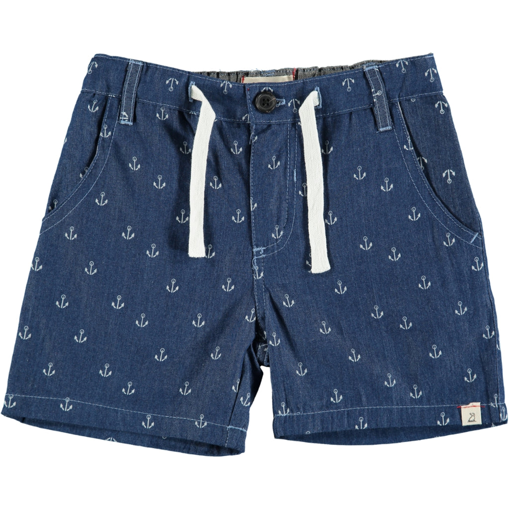 Blue Chambray Anchor Print Shorts