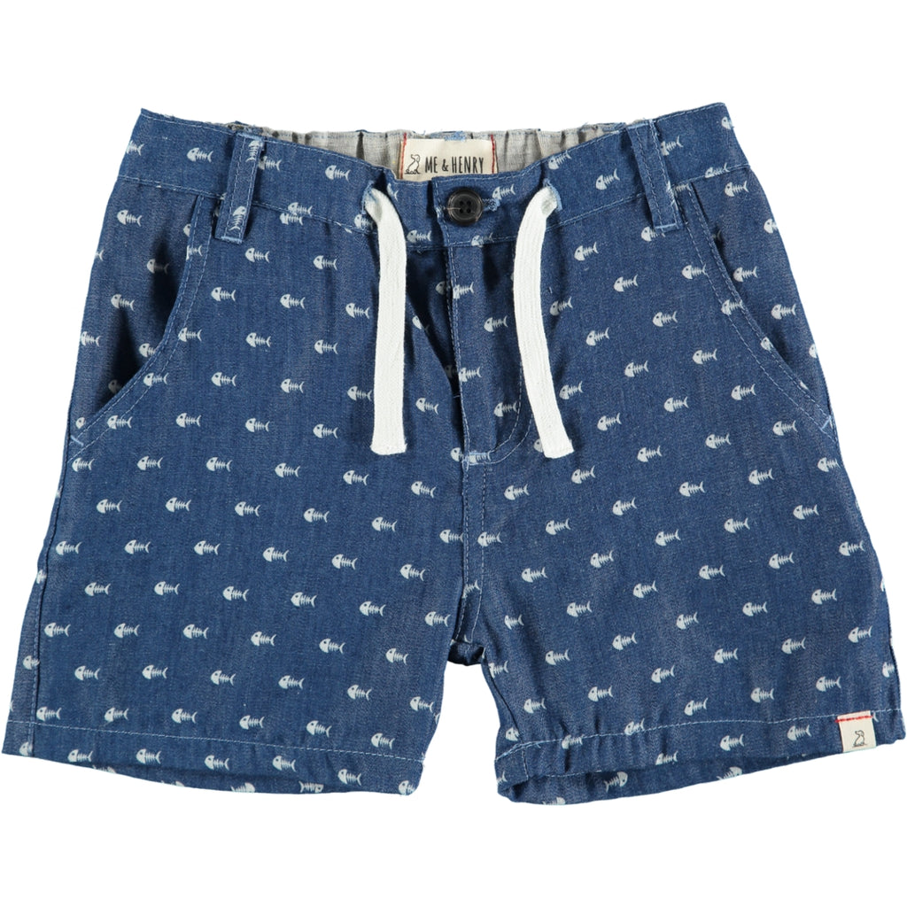 Blue Chambray Fish Print Shorts
