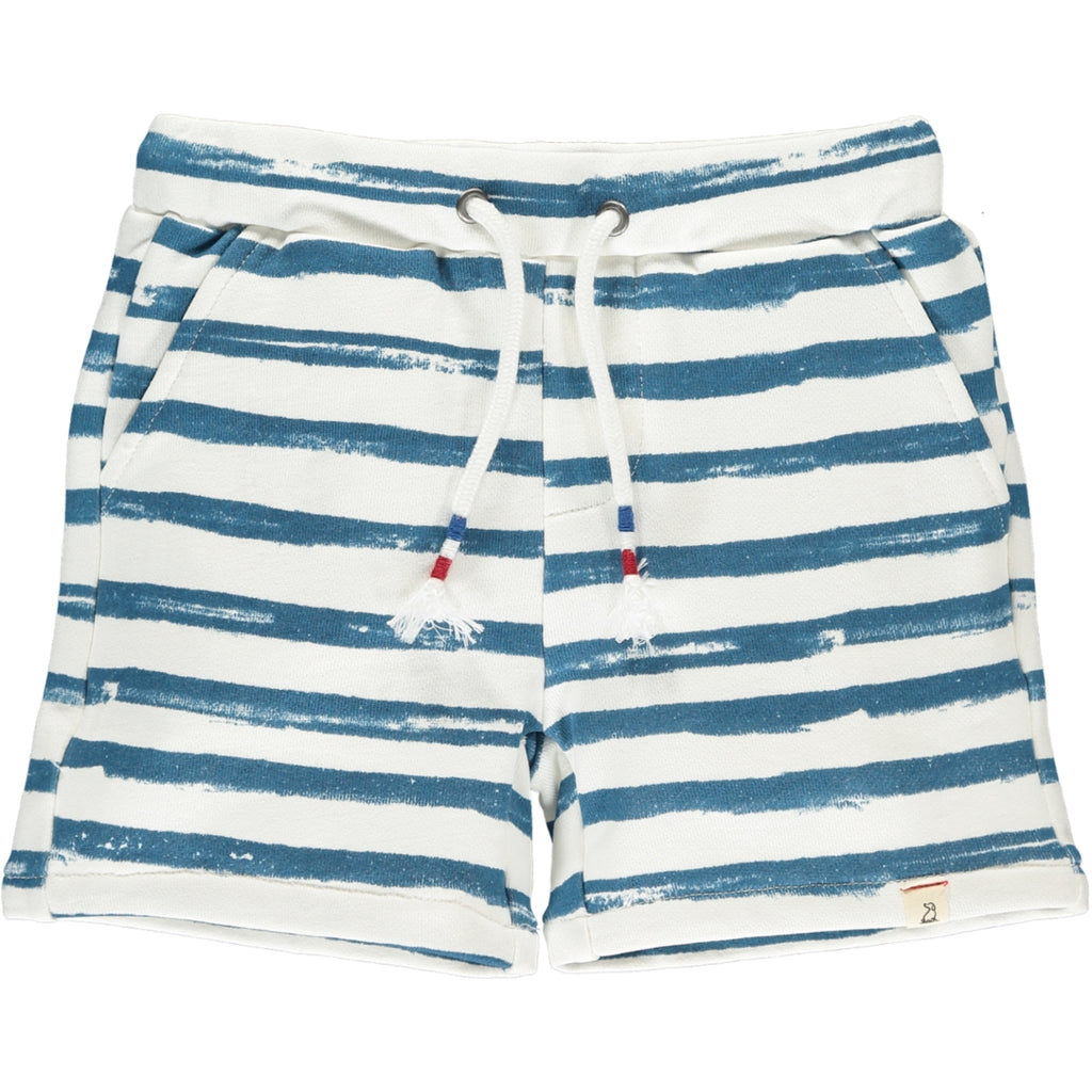 Navy Hand Painted Stripe Sweat Shorts