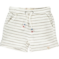 Grey/White Hand Painted Stripe Jersey Shorts