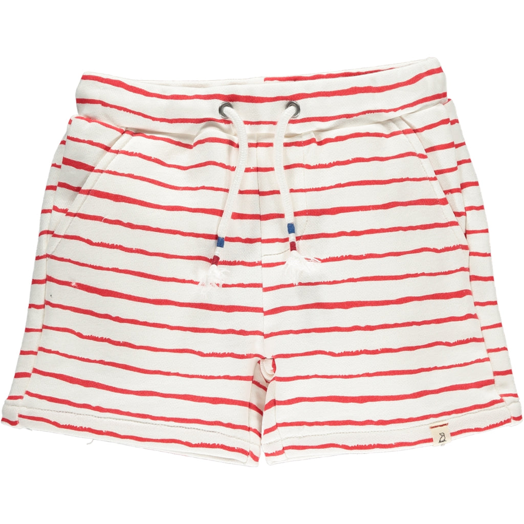 Red Hand Painted Stripe Jersey Shorts