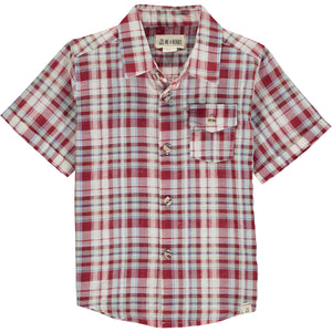 Red/blue/green plaid short sleeved shirt