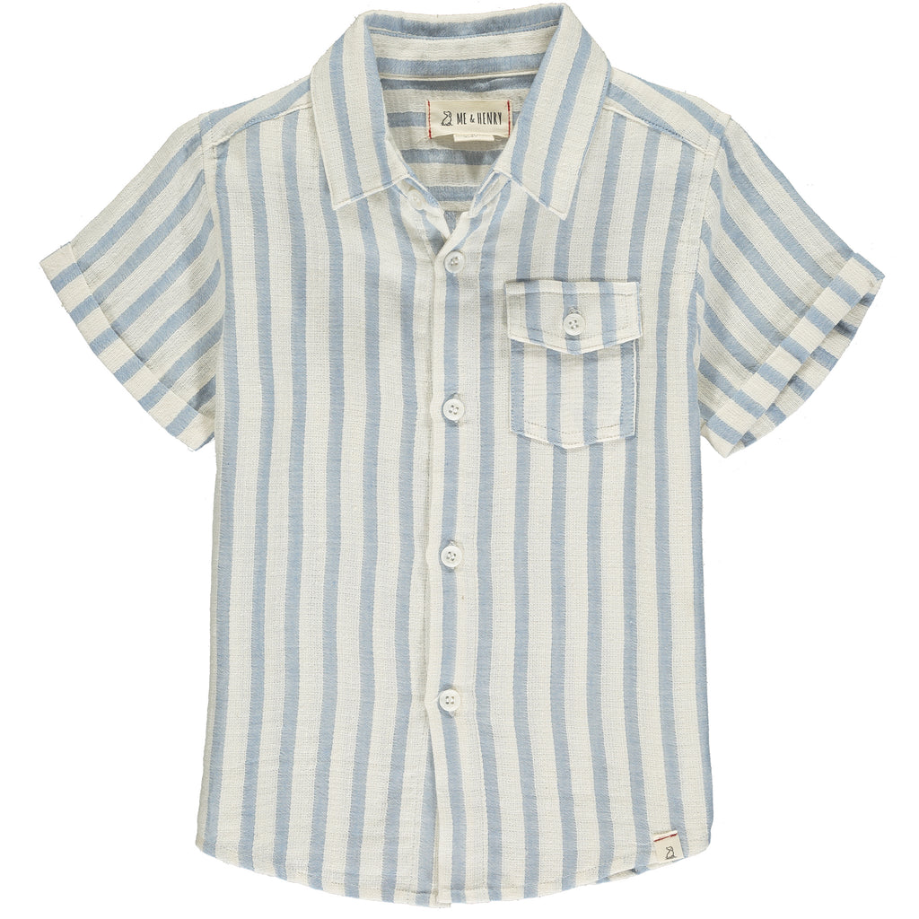 Blue/white stripe short sleeved shirt