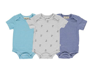 Blue/multi triple pack onesies