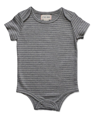 front image of grey short sleeved striped onesie