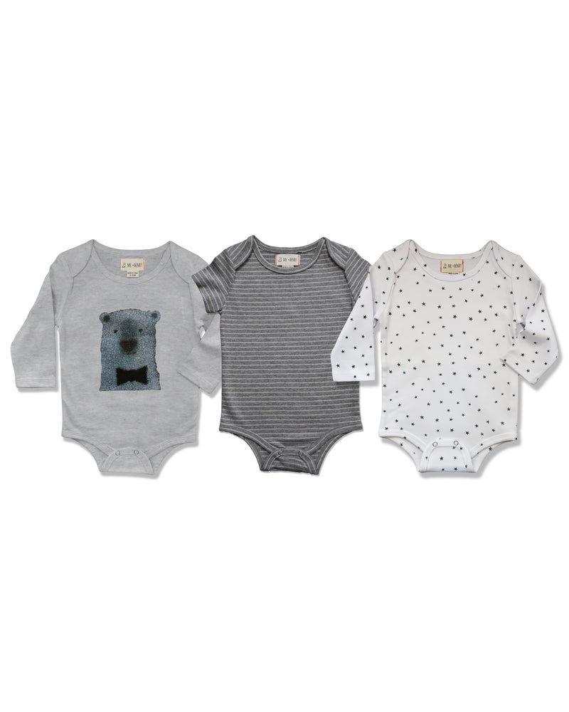 front image of triple pack onesies, one with polar bear, one with grey stripes, one with grey stars on white base