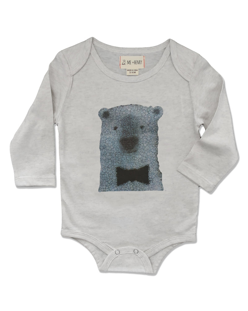 front image of long sleeved onesie with printed polar bear on front