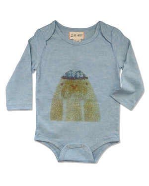 front image of blue long sleeved onesie with walrus printed on front