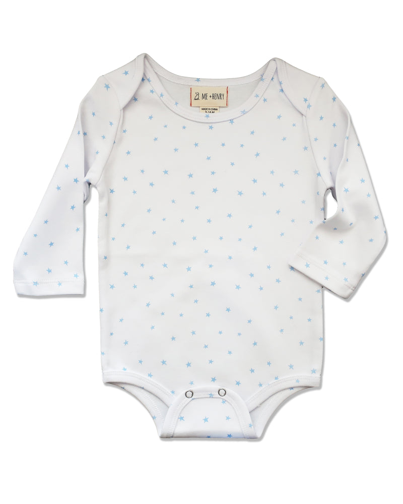 front image of long sleeved onesie with blue stars on white background