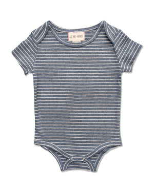 front image of short sleeved onesie with blue stripes