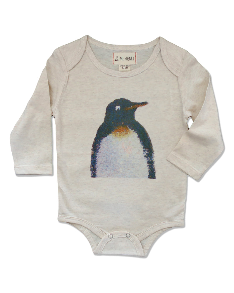front image of ecru long sleeved onesie with penguin printed on front