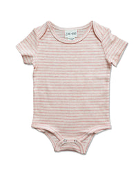 front image of short sleeved beige striped onesie