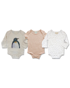 front image of triple pack onesies, one with penguin printed on front, one with beige stripes, one with beige stars on white base