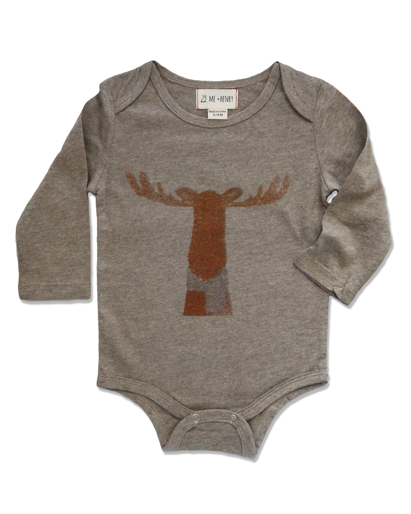 front image of beige long sleeved onesie with moose printed on front