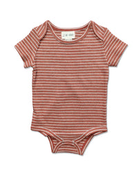front image of beige striped short sleeved onesie