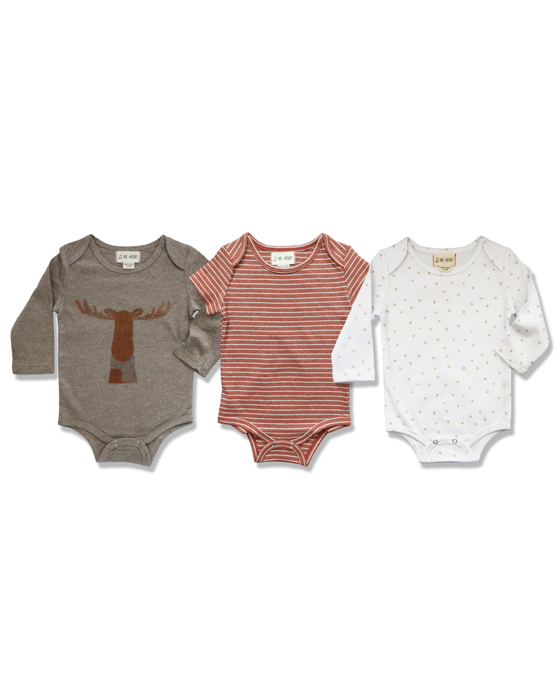 front image of triple pack onesies, one with moose printed on front, one with brown stripes, one with stars on white base