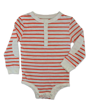 front image of sub cotton long sleeved Henley onesie with orange and cream stripes