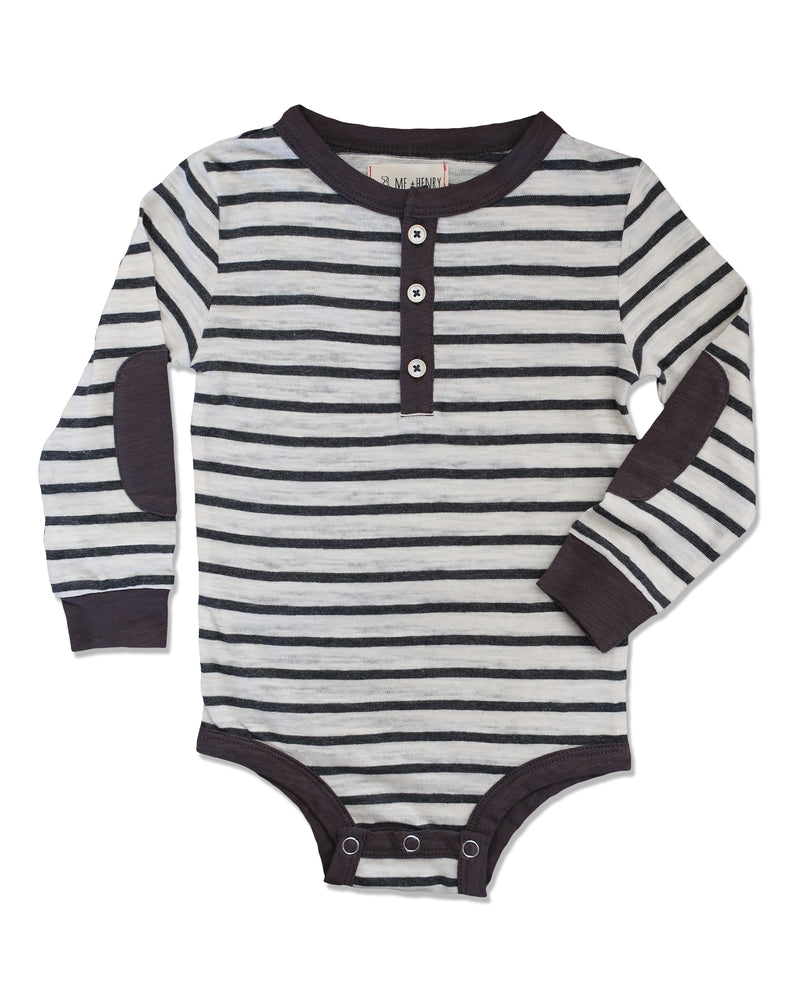 front image of sub cotton long sleeved Henley onesie with grey and cream stripes