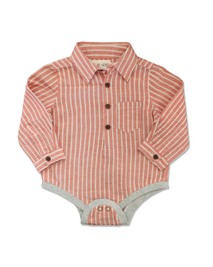 front image of woven orange striped long sleeved onesie