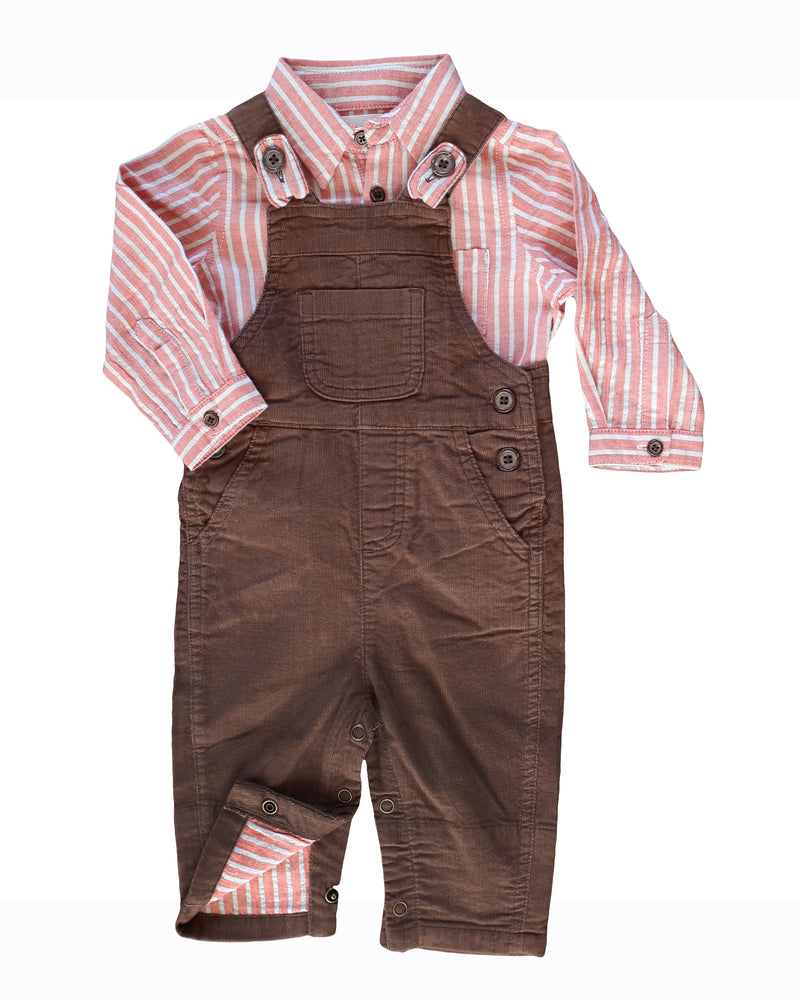 front image of brown corduroy overalls for baby boy with matching orange striped woven onesie