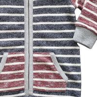 close up image of baby boys hooded romper with burgundy and navy stripes and pocket