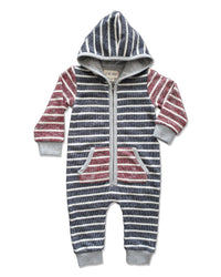 front image of baby boys hooded romper with burgundy and navy stripes and pocket