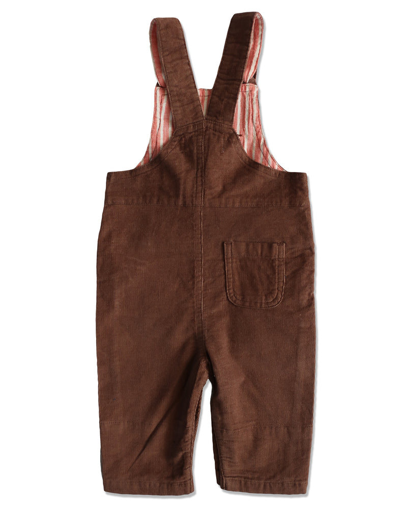 back image of brown corduroy overalls for baby boy