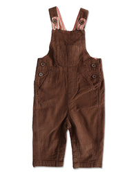 front image of brown corduroy overalls for baby boy