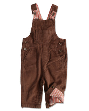 front image of brown corduroy overalls for baby boy showing lining of leg
